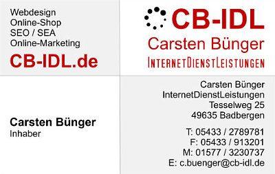 Infohaus Badbergen - Visitenkarte Carsten Bünger InternetDienstLeistungen