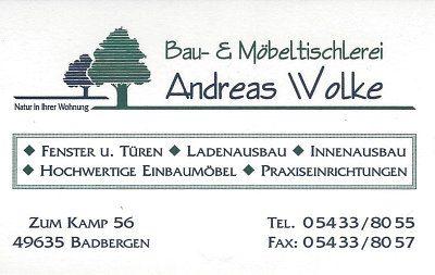 Infohaus Badbergen - Visitenkarte Tischlerei Wolke