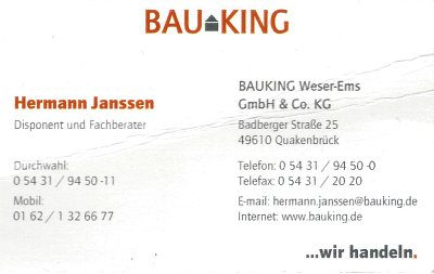 Infohaus Badbergen - Visitenkarte Bauking