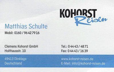 Infohaus Badbergen - Visitenkarte Kohorst Reisen