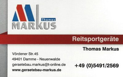 Infohaus Badbergen - Visitenkarte Reitsportgeräte Markus