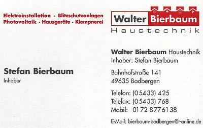 Infohaus Badbergen - Visitenkarte Walter Bierbaum Haustechnik