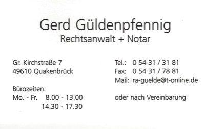 Infohaus Badbergen - Visitenkarte Gerd Güldenpfennig