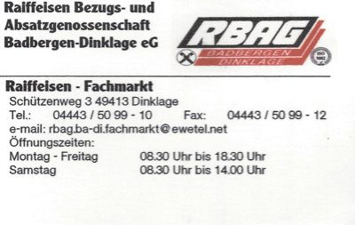 Infohaus Badbergen - Visitenkarte RBAG Fachmarkt Dinklage