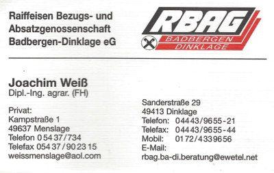 Infohaus Badbergen - Visitenkarte RBAG Joachim Weiß