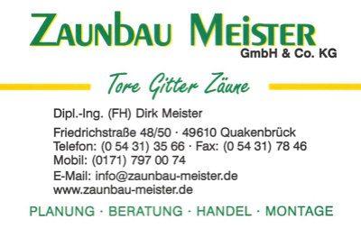 Infohaus Badbergen - Visitenkarte Zaunbau Meister - Dirk Meister