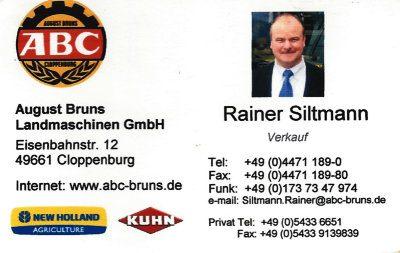 Infohaus Badbergen - Visitenkarte August Bruns - Rainer Siltmann