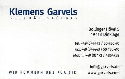 Infohaus Badbergen - Visitenkarte Klemens Garvels
