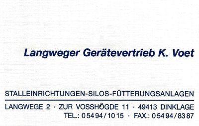 Infohaus Badbergen - Visitenkarte Langweger Gerätevertrieb K. Voet