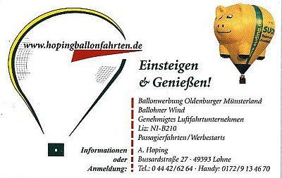 Infohaus Badbergen - Visitenkarte Ballonfahrten Hoping
