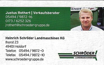 Infohaus Badbergen - Visitenkarte Schröder Landmaschinen - Justus Rothert