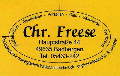 Infohaus Badbergen - Visitenkarte Chr. Freese