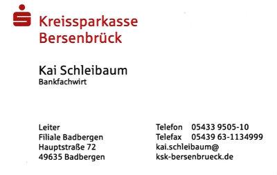 Infohaus Badbergen - Visitenkarte KSK-BSB Kai Schleibaum