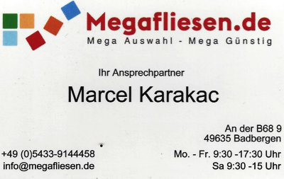 Infohaus Badbergen - Visitenkarte Megafliesen Marcel Karakac